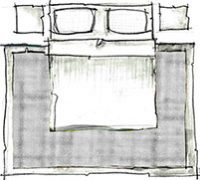 disposição de tapete no quarto de casal - opção 1