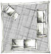 disposição de tapete na sala - opção 1