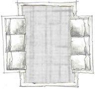 disposição de tapete na sala - opção 3